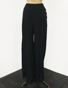 BACKORDER - Solid Black Retro 1940s Style High Waisted Palazzo Pants