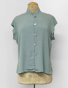Solid Celadon Green Button Up Mandarin Collar Tea Timer Top