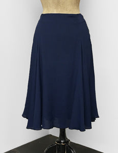 Navy Blue Rayon Crepe Venice Beach Balboa Circle Swing Skirt
