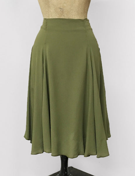 Olive Green Rayon Crepe Venice Beach Balboa Circle Swing Skirt