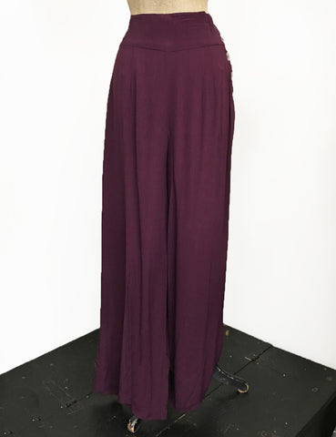 Solid Plum Retro 1940s Style High Waisted Palazzo Pants