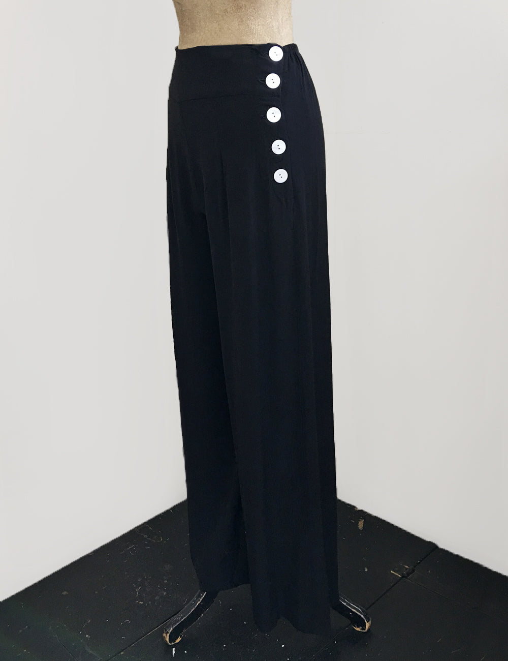 BACK IN STOCK!  Solid Black Retro 1940s Style High Waisted Palazzo Pants
