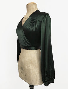 Dark Emerald Green Satin Balloon Sleeve Babaloo Crop Wrap Top