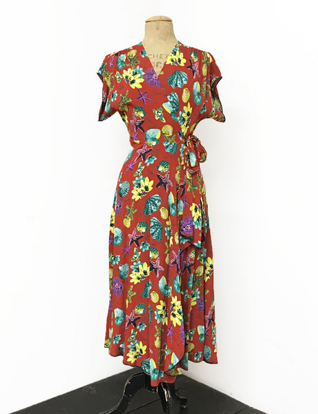 Doris Mayday for Loco Lindo - Rust Red Star of the Sea 1940s Cascade Wrap Dress