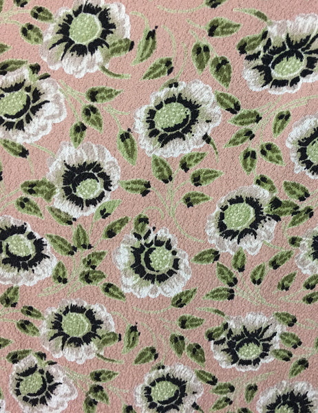 Sweet Pink & Green Pansy Floral Print 1930s Venice Beach Balboa Swing Dress