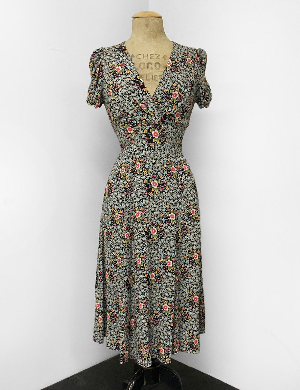 Colorful Sweet Ragtime Floral Print Retro Rita Dress - FINAL SALE