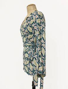 Teal Egyptian Fan Print Biba Wrap Top