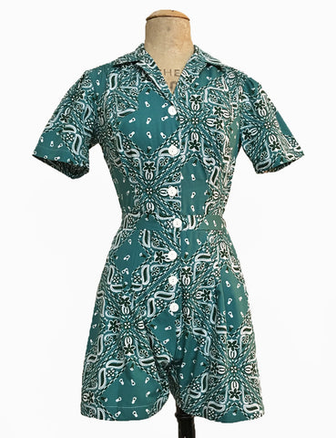 Scout for Loco Lindo Teal Green Bandana Print 1940s Carolina Romper