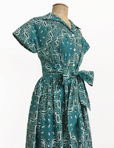 Scout for Loco Lindo 1940s Teal Green Bandana Print Willow Dress