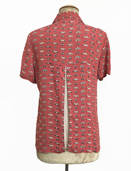 Terracotta Red Classic Cars Print Button Up Short Sleeve Camp Shirt