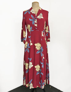 Red Tropical Floral 3/4 Sleeved Vintage Day Dress - FINAL SALE