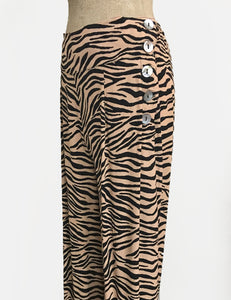 Tiger Print 1940s Style High Waisted Palazzo Pants