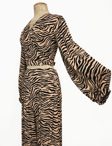 Black & Tan Tiger Stripe Vintage Inspired Babaloo Wrap Top