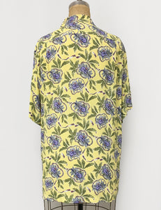 Yellow Island Music Print Men's Sonny Button Up Tiki Shirt
