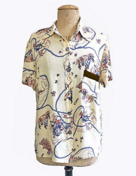 Ivory & Brown Vintage Western Print Button Up Short Sleeve Camp Shirt