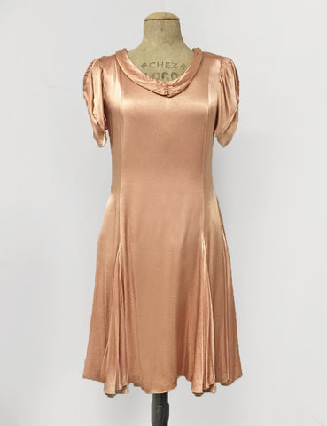 Soft Peach Satin 1930s Venice Beach Balboa Swing Dress