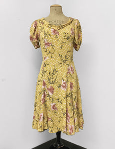 Yellow Rose Gold Dot 1930s Venice Beach Balboa Swing Dress