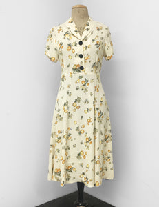 1940s Style Ivory Lemon Print Short Sleeve Vintage Day Dress