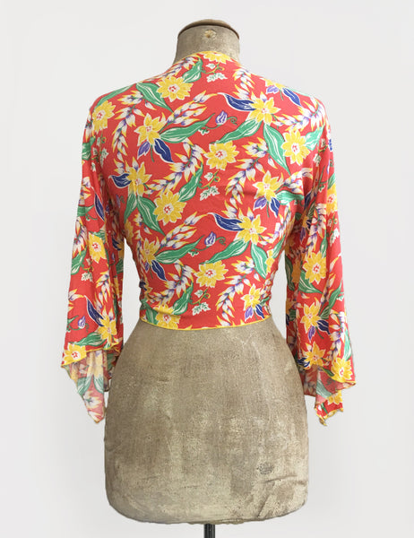 1940s Tropical Floral Soft Angel Wing Crop Tie Top