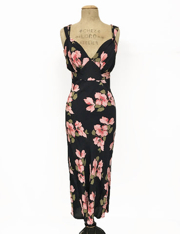 1930s Style Black Tropical Nights Harlow Slip Dress