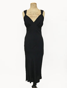 1930s Style Solid Black Sexy Harlow Slip Dress