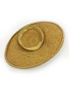 Authentic Vintage 1930s Woven Oval Sun Hat With Flowers