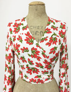 Red & White Rosebud Floral Print Drama Sleeve Babaloo Tie Crop Top