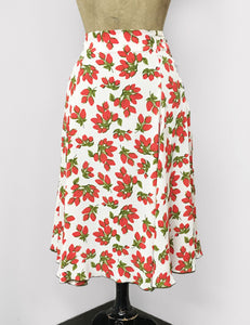BACK IN STOCK! White & Red Rosebud Floral Venice Beach Balboa Circle Swing Skirt
