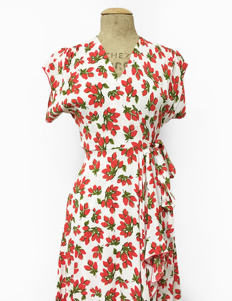 1940s Style White & Red Rosebud Floral Cascade Wrap Dress