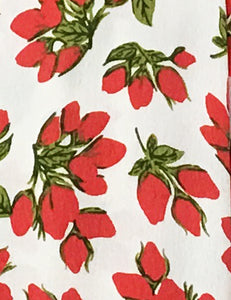 White & Red Rosebud Floral Venice Beach Balboa Circle Swing Skirt