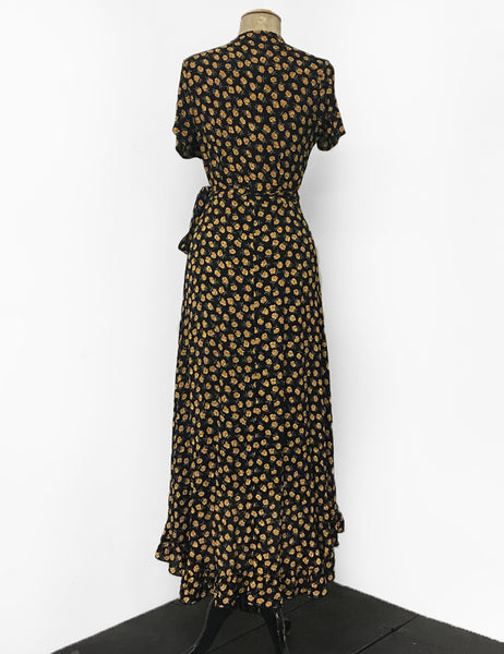 1970s Inspired Golden Dandelion Print Bohemian Hi Low Ruffle Maxi Wrap Dress