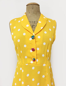 Bright Yellow & White Polka Dot Sleeveless Knee Length Vintage Dress