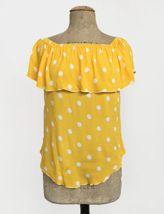 Yellow Polka Dot Ruffle Top Dolores Peasant Blouse - FINAL SALE