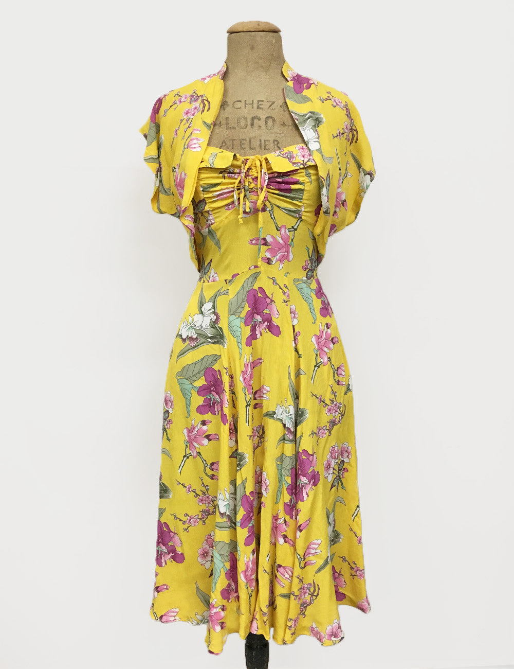 Yellow & Purple Iris Floral 1940s Inspired Marta Halter Swing Dress