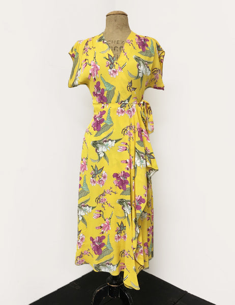 Yellow & Purple Iris Floral Print Tea Length Cascade Wrap Dress