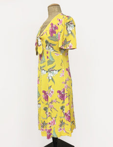Retro Yellow & Purple Iris Print Mai Tai Knee Length Dress - FINAL SALE