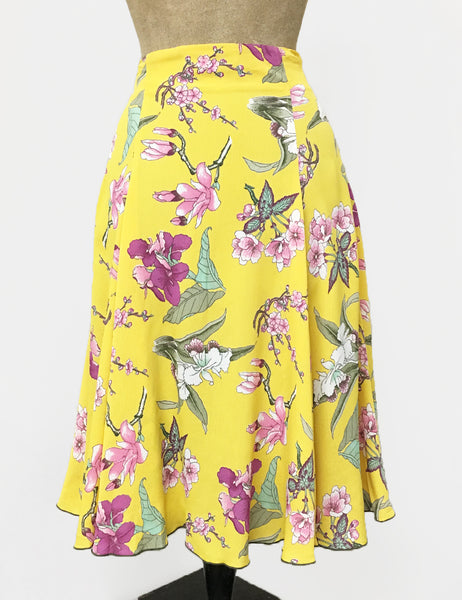 Yellow & Purple Iris Print Venice Beach Balboa Circle Swing Skirt