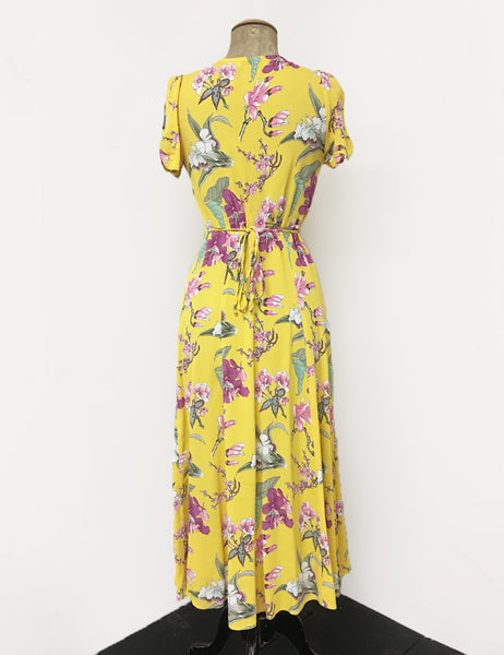 Yellow & Purple Iris Floral Vintage Inspired Tea Length Rita Dress
