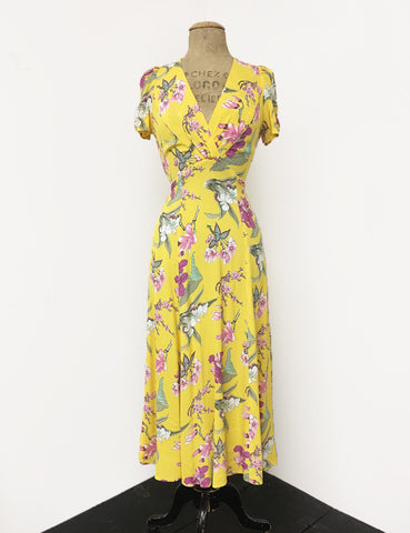 Yellow & Purple Iris Floral Vintage Inspired Rita Dress