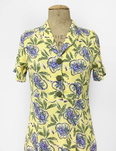 Yellow & Purple Island Music 1940s Style Tea Length Short Sleeve Vintage Day Dress