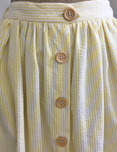 Scout for Loco Lindo Yellow Seersucker 1940s Button Front Petunia Skirt