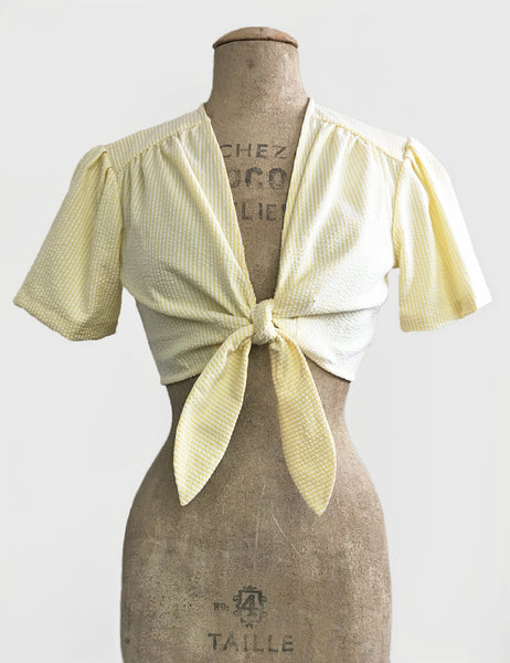 Scout for Loco Lindo Yellow Seersucker 1940s Style Daisy Tie Top