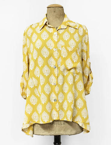 Yellow Turtle Stamp Print Button Up Hi-Low Blouse