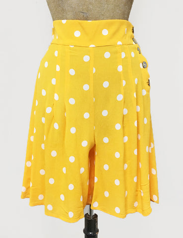 Yellow & White Big Polka Dot High Waisted Shorts