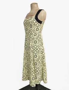 Yellow Geometric Print Vintage Style Sleeveless Mi Amor Dress