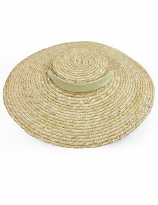 Yellow Seersucker Vintage Style Woven Large Brim Straw Hat
