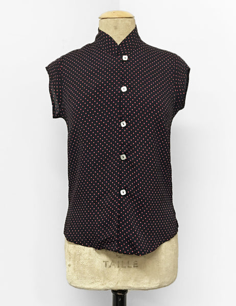Black & Red Polka Dot Button Up Mandarin Collar Tea Timer Top