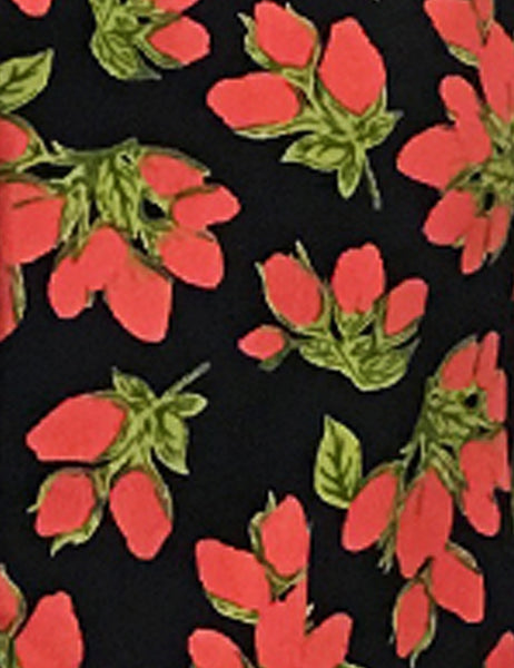 Black & Red Rosebud Floral Print 1940s Style Button Up Hepburn Blouse