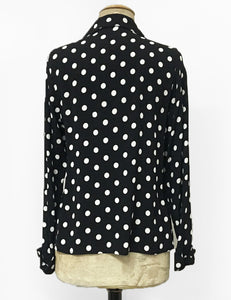 Black & White Big Dot 1940s Style Button Up Hepburn Blouse
