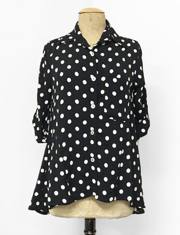 BACK IN STOCK!  Black & White Big Dot Button Up Collared Hi-Low Blouse